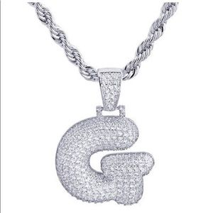 Other - BRAND NEW Iced Out Silver Bubble Letter Rope Chain